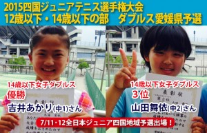 四国ジュニアテニス選手権ダブルス県予選女子